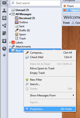 Mail account properties